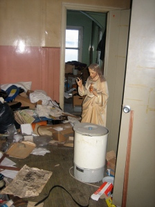 A junk funk flunk. Inclusion of second photo this week of a Jesus statue is mostly a coincidence, but anyway, this is not my house, but a basement in a partly-condemned school in north Dublin city.